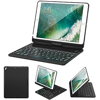 ブルートゥース キーボード - ATiC iPad Air / Air 2 / iPad 9.7 (2017) / iPad Pro 9.7用 バックライト機能付き 360度回転 ブルートゥース キーボードケース カバー (Black)