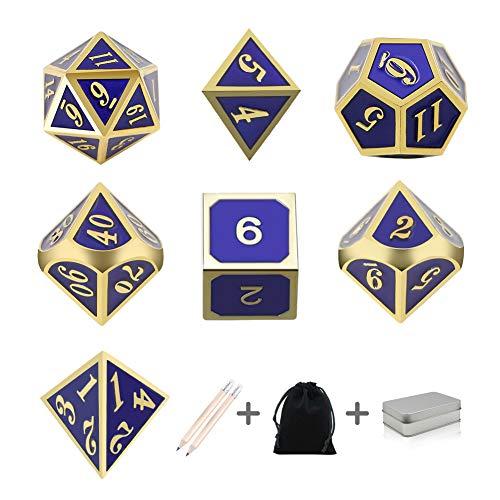 ダイス サイコロ 高品質 7個セット金属材料メッキ 2本鉛筆呈品 ボードゲーム ゲーム道具 ケース付き