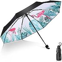 日傘 Leebotree 超軽量 折りたたみ日傘 遮光率100% UVカット率99.9% UPF50+ 紫外線対策 遮熱効果 晴雨兼用 頑丈な8本骨 抗強風 持ち運び便利 ミニ型可愛い折り畳み日傘 (フラミンゴ*白)