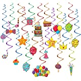 TOYMYTOY Hanging Swirl Decorations 30PCS Rainbow Ceiling Streamers Hanging Whirls for Baby Shower Birthday Party Decorations - 30cm in Length