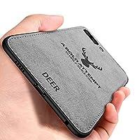 Huawei Honor View 10 ケース, CHENXI 鹿の頭の模様 電話ケース マッチングデニムキャンバスPC + PU + TPU 二重構造強力 耐震ケース 衝撃防止 滑り止 全面保護 カバー ために Huawei Honor View 10/Honor V10 - グレー