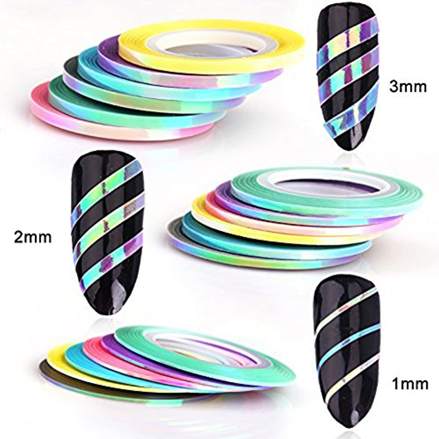 設置退屈させる絶えずメーリンドス ネイルデザインパーツ ホログラムラインテープ キラキラオーロラマーメイドネイルテープ 1mm/2mm/3mm 人魚6色&6本セット(3MM)