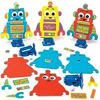 ロボット ゼンマイ式 歩くおもちゃ 手作りキット (3個入り) キッズパーティ ディスプレイ ゲーム 子どもたちの工作に スポンジ製