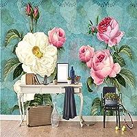 Jason Ming ヨーロピアンスタイルの3Dステレオ花写真壁画の壁紙リビングルームテレビソファ結婚式の家の背景壁画3D家の装飾-350X250Cm