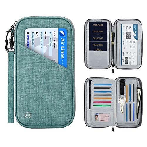SHINPACK パスポートケース スキミング防止 アコーディオンデザイン 家族 国内海外旅行用品 四つのパスポート 通帳ケース 航空券 紙幣 カード 小銭 ペン 鍵など収納可 大容量 トラベルウォレッド パスポートバッグ ポーチ (グリーン)