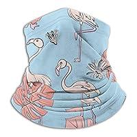 シームレスなフラミンゴとモンステラの葉パターンスキーマスク寒い天候フェイスマスク首ウォーマーフリースフード冬帽子