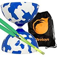 Jester Medium Diabolo Blue/White with Green Superglass Diablo Sticks String & Firetoys? Bag [並行輸入品]