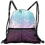 パステルエイリアンパターン リュックサック 巾着袋 バックパック デイパック キャリーバッグ アウトドア サイクリング スポーツ 旅行 カジュアル キャンプ用 ハイキング用