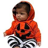 ベビー服、todaiesベビー男の子服セットPumpkinフード付きトップス+パンツ服装ハロウィン服 18-24M オレンジ