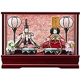 雛人形 親王ガラスケース 【みゆき】 豆 2人飾り 艶ワイン [間口42cm] 【fn-41】 ひな祭り