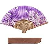 ヴィヴィラウンジ 絹 シルク 扇子 桜 花 花柄 扇子袋付 箱入り 母の日 プレゼント 暑さ 対策 レディース 女性 (紫)