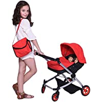 Modern Twin Doll Deluxe Babyboo Stroller -SUPERIOR QUALITY Red Quilted Fabric- NEW LUXURY COLLECTION - Adjustable Height - FREE Diaper Bag - EXTRA TALL [並行輸入品]