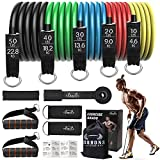Resistance Bands Set, Including 5 Stackable Exercise Bands with Door Anchor, Ankle Straps, Carrying Case & Guide Ebook - for Resistance Training, Physical Therapy, Home Workouts, Yoga (Set 13)