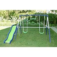 スイングNスライドグライダーメタルプレイセットfor KidsスイングセットPlayground SwingsetアウトドアPlaysets Swings再生スライド外おもちゃPlayセットブルーグリーン新しい