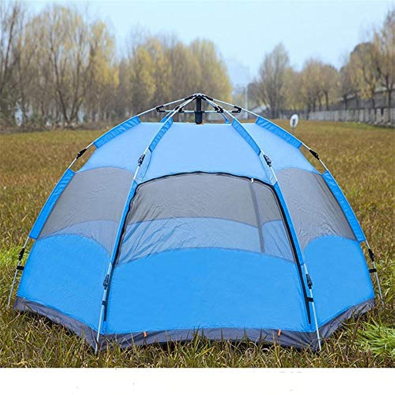 トレーダースポンサー机家族キャンプテント キャンプテントマルチパーソンキャンプ自動ポップアップ防水サンシェードキャンプ釣りハイキングキャノピー (色 : 青, サイズ : 240cm*240cm*135cm)