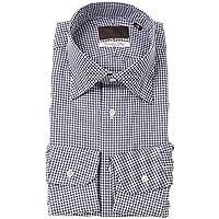 (ユニバーサルランゲージ) ワイドカラードレスシャツ ギンガムチェック/Fabric by Albini/ネイビー×ホワイト