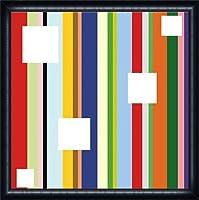 ポスター ダン ブライアー White Square on Stripe (detail) 額装品 ウッドハイグレードフレーム(ネイビー)