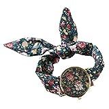 PolytreeレディースGirl 's花柄布バンドフラワードレスクォーツ腕時計(タイプ13)