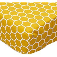 SheetWorld Fitted Sheet (Fits BabyBjorn Travel Crib Light) - Mustard Yellow Honeycomb - Made In USA by sheetworld