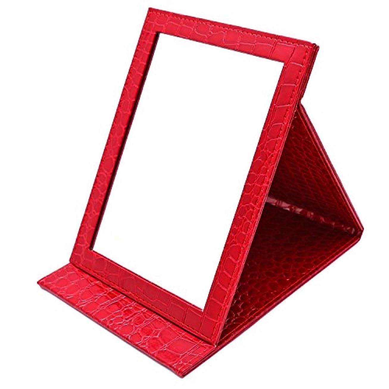 動かない男らしい好奇心盛nakira 大きめ 折りたたみミラー 携帯 鏡 エナメル調 クロコ柄 (レッド)