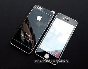 【ノーブランド品】iphone5&5S用 9H強化ガラスフィルム 表裏完全保護フィルムケース0.2MM(4色)保護ケース、超軽量 ケース (黒)