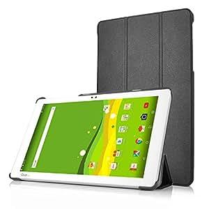 KuGi Qua tab PZ ケース 傷つけ防止 スタンドカバー Qua tab PZ 10.1インチ カバー 薄型 軽量 三つ折 内蔵マグネット開閉式 PUレザーカバー Qua tab PZ スマートケース ブラック