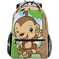 MOFEIYUE かわいい動物 モンキー バナナ バックパック カレッジスクールバッグ ショルダー カジュアル 旅行 デイパック ハイキング キャンプ