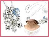 カットビーズ&雪の結晶のネックレス S・ブルー:1個 【1点】