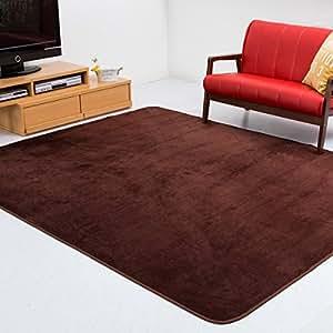 【手触りが優しいフランネルラグ】 185×185cm 約2畳 洗える カーペット 滑り止め付 (ラーナA) ブラウン色