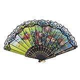 uxcell 踊り用扇子 折りたたみ式 スペインスタイル レース製 花柄 フレーム ブラック ブラック レッド イエロー