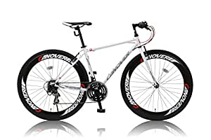 CANOVER(カノーバー) クロスバイク 700×28C CAC-025 NYMPH(ニンフ) シマノ21段変速グリップシフト 前後ディープリム 前後Vブレーキ LEDライト標準装備 ホワイト