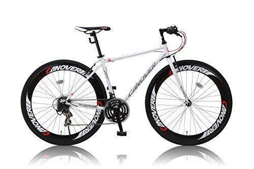 カノーバー クロスバイク 700C シマノ21段変速 CAC-025 (NYMPH) ディープリム グリップシフト フロントLEDライト付 ホワイト