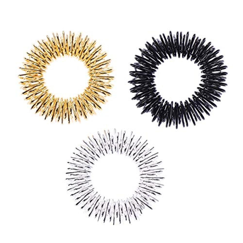 落胆させる一節音楽家HEALLILY 3本鍼ブレスレット指圧指のマッサージリング(ゴールド/シルバー/ブラック)