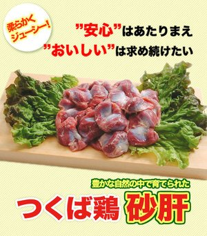【鶏肉】国産 つくば鶏 砂肝 2kg(2kg1パックでの発送) スライスして塩コショウ焼き 絶品です この鶏肉は筑波山麓のふもとで育った鶏です【鳥肉】【茨城県産】【銘柄鶏肉】