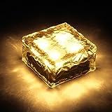 Lightess LEDソーラーライト 太陽光パネル 感光式 ガーデンライト 自動充電 自動点灯 防水 ソーラー式 埋め込み可 キューブ型 (イエロー)