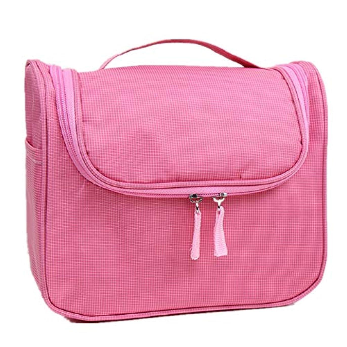ありふれたキャンパス米国化粧オーガナイザーバッグ 大容量の旅行化粧品バッグ丈夫で耐久性のある洗濯可能な化粧品保管コンセントレーションバッグウォッシュバッグ 化粧品ケース (色 : ピンク)