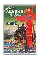 アラスカに飛ぶ - クリッパーの飛行機 - パンアメリカン航空 - トーテムポール - ビンテージな航空会社のポスター によって作成された マーウ・ファン・アレンバーグ c.1947 - アートポスター - 33cm x 48cm