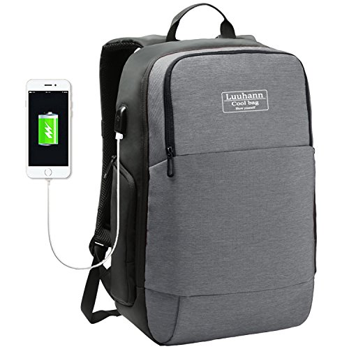 PCリュックサック 大容量防水耐震防犯ビジネスバッグ USB ポート搭載 15.6インチPCバッグ 通学 通勤 男女兼用 高校生A4バックパック Luuhann (グレー)