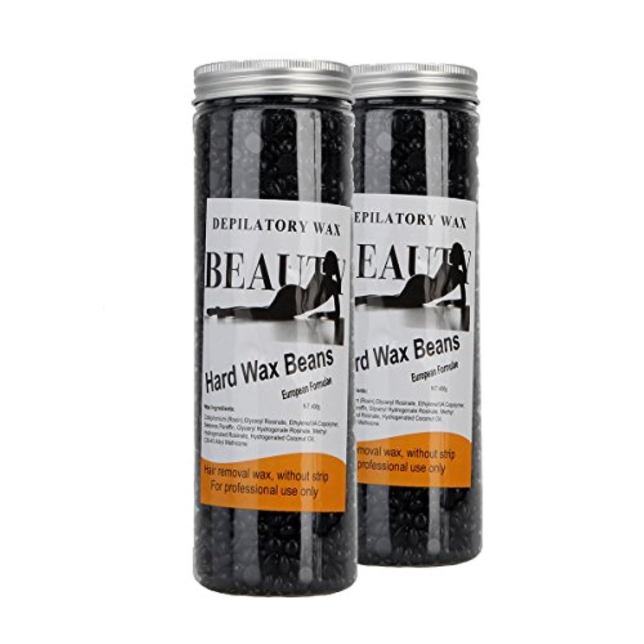 パールご覧くださいカーテン(アーニェメイ)Bonjanvye ワックス脱毛 キット 400g 2缶 脱毛ワックス ハード ブラジリアンワックス ハード 粒-ブラック