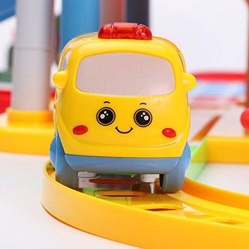 Wishtime 駐車場シリーズ 電車セット ミニカー プラレール くるくる どうろ 仕掛けいっぱい 幼児 おもちゃ
