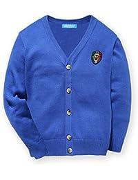 mimixiong(ミミクマ)キッズ Vネック ケーブル編み コットン カーディガン セーター 男の子 子供服