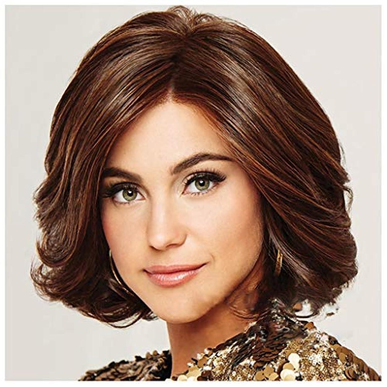 バクテリア人物安全性ファッションショートカーリーヘアウィッグ、スーパーナチュラルウィメンズボブスタイル耐熱合成本物の人間の髪の毛のかつら、女性のためのコスプレウィッグ