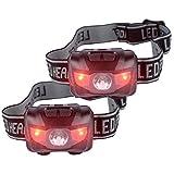 Infityle LED ヘッドライト ヘッドランプ スポットライト 軽量【防水仕様】 IPX5 200 キャンプ/サイクリング/ハイキングなどのアウトドア活動に適用 乾電池×3本(付属) (黒+黒, ダブルボタン制御)