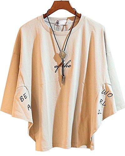 (プセン)PUSHENG 綿100% ドルマンスリーブゆるT ネックレス付き メンズ 半袖 Tシャツ カットソー 動きやすい モード系 オシャレ XL ベージュ