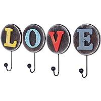 ヴィンテージDIY Love letterフック、素朴な仕上げ、Countryファームハウススタイル、装飾壁フック、壁マウント用のハンガー、4フックコート帽子タオルPurseキーRobes Clothing