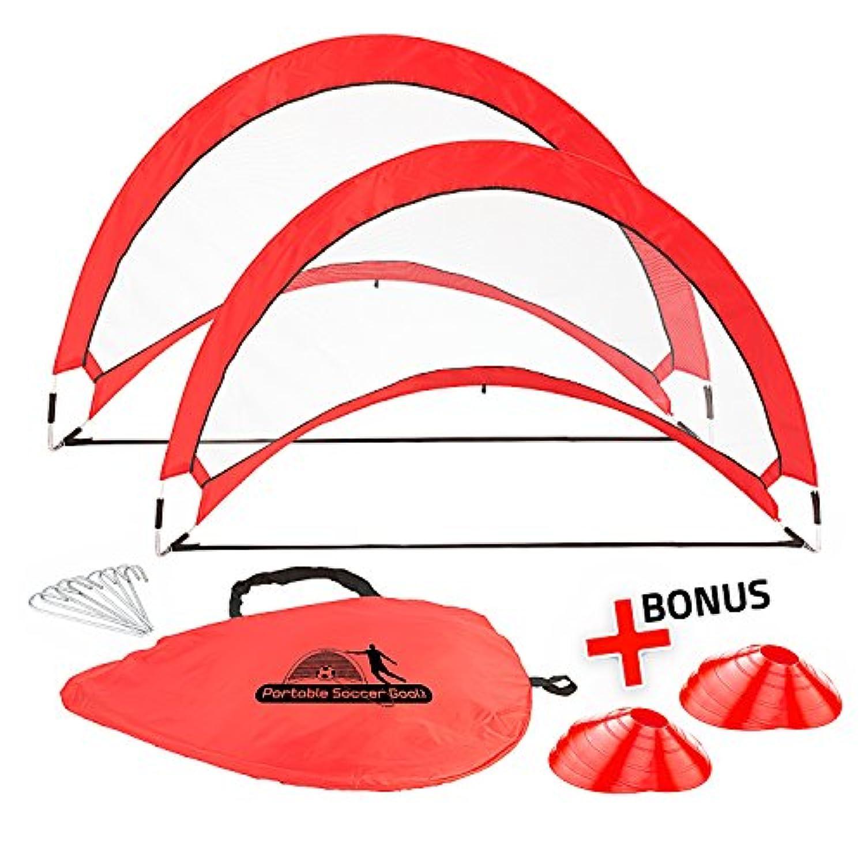 ポータブルサッカーゴールセットトレーニング、練習&ゲーム – ポップアップSoccer Net – 2サッカー目標、6 Disc Cones & 8スパイク – Carryバッグ – Easy to Assemble &ストア – Be It裏庭またはパブリックフィールド