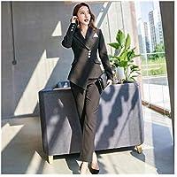 XuBa Two Piece Set Office Suit Women Striped Autumn Double Breasted Black Long Jacket+Long Pant Suits Businness Work Wear Suits
