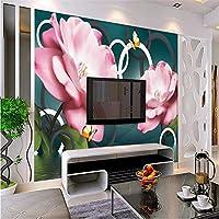 3d壁紙水花ローズcame蝶蝶テレビテレビ背景壁壁画カスタムホームアート装飾画-280X200cm