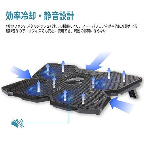 iClever 冷却パッド ノートパソコン ノートPCクーラー 薄型 冷却台 超静音 4ファン USBポート LED搭載 風量調節可 17インチまで対応