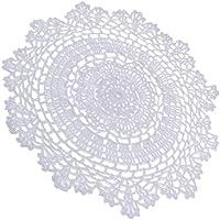 Baosity テーブルプレイスマット 手作り かぎ針編み ウェディングテーブル装飾 白い 全2サイズ - 30cm